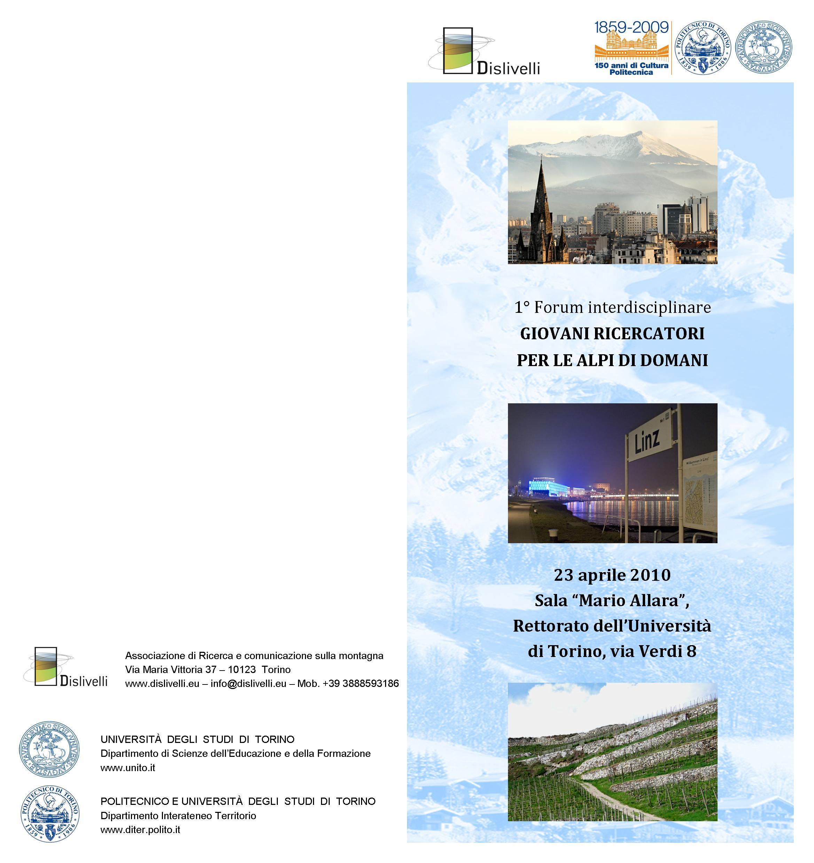 Forum Interdisciplinare Dei Giovani Ricercatori Per Le Alpi Di Domani #266AA5 2338 2480 Scarica Gratis Programma Per Progettare Cucine